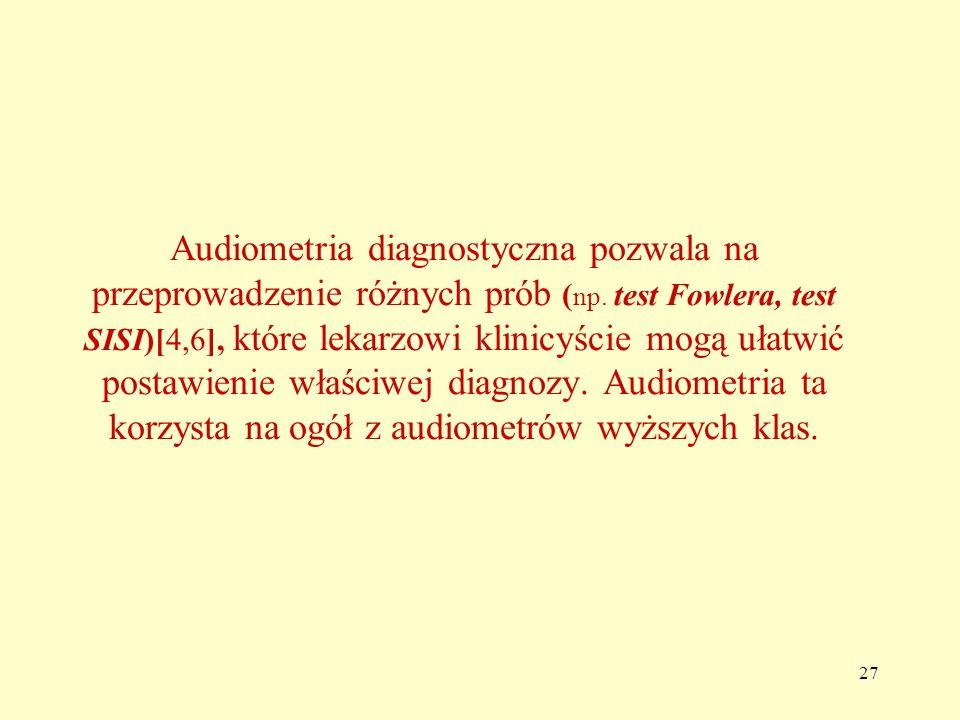 27 Audiometria diagnostyczna pozwala na przeprowadzenie różnych prób ( np.