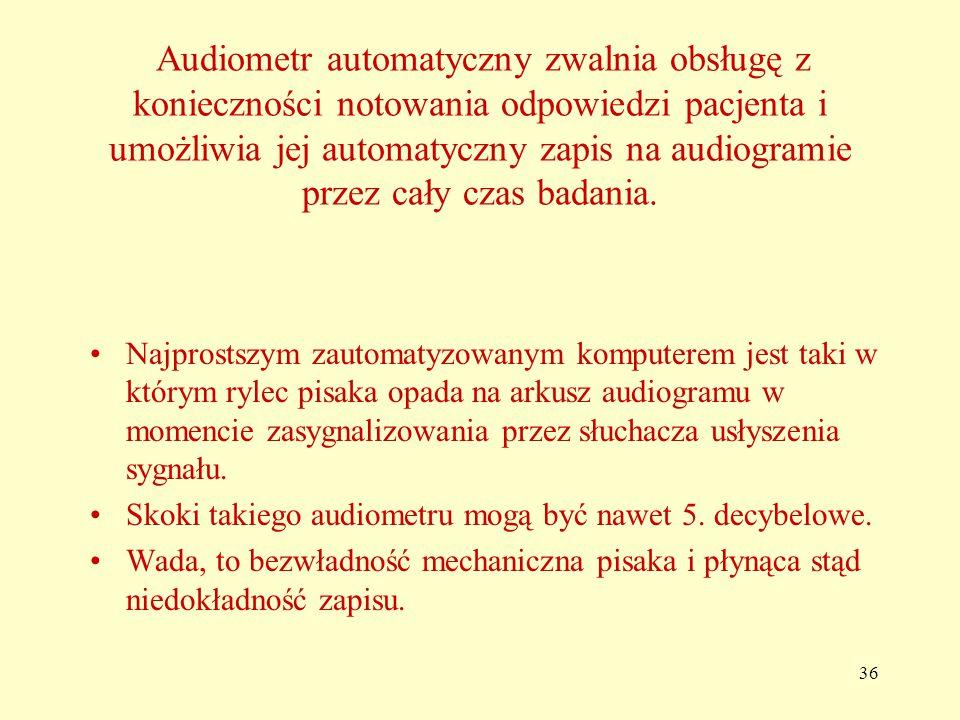 36 Audiometr automatyczny zwalnia obsługę z konieczności notowania odpowiedzi pacjenta i umożliwia jej automatyczny zapis na audiogramie przez cały czas badania.