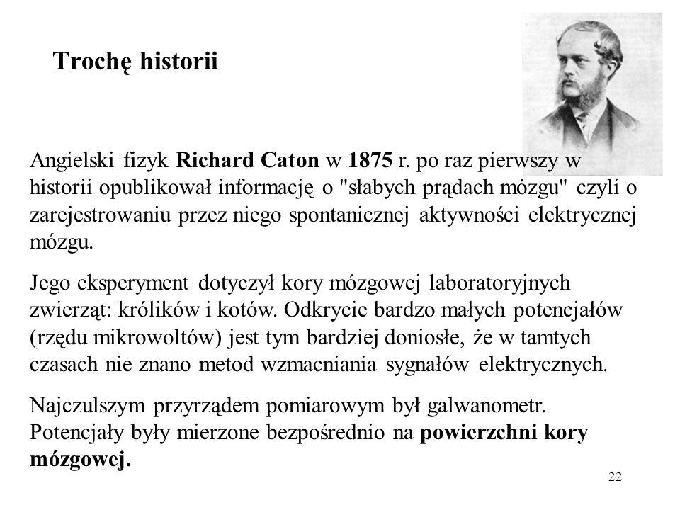 22 Angielski fizyk Richard Caton w 1875 r. po raz pierwszy w historii opublikował informację o