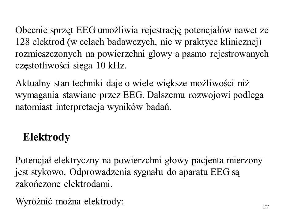 27 Obecnie sprzęt EEG umożliwia rejestrację potencjałów nawet ze 128 elektrod (w celach badawczych, nie w praktyce klinicznej) rozmieszczonych na powi