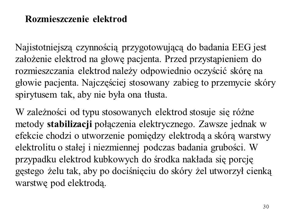 30 Najistotniejszą czynnością przygotowującą do badania EEG jest założenie elektrod na głowę pacjenta. Przed przystąpieniem do rozmieszczania elektrod