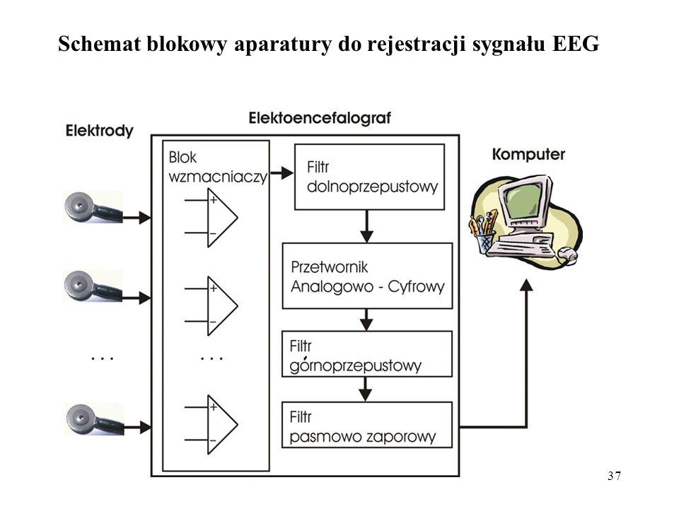 37 Schemat blokowy aparatury do rejestracji sygnału EEG
