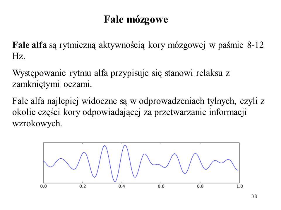 38 Fale alfa są rytmiczną aktywnością kory mózgowej w paśmie 8-12 Hz. Występowanie rytmu alfa przypisuje się stanowi relaksu z zamkniętymi oczami. Fal