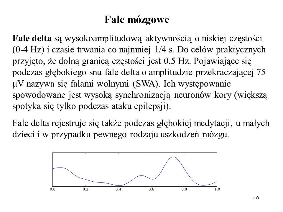 40 Fale delta są wysokoamplitudową aktywnością o niskiej częstości (0-4 Hz) i czasie trwania co najmniej 1/4 s. Do celów praktycznych przyjęto, że dol