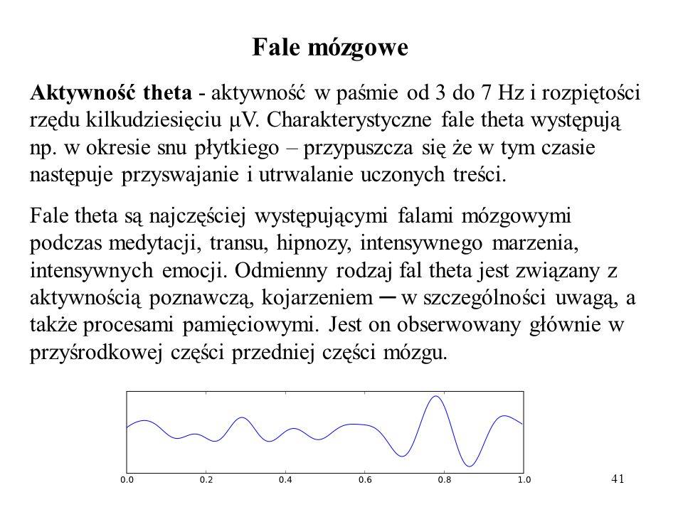 41 Aktywność theta - aktywność w paśmie od 3 do 7 Hz i rozpiętości rzędu kilkudziesięciu μV. Charakterystyczne fale theta występują np. w okresie snu