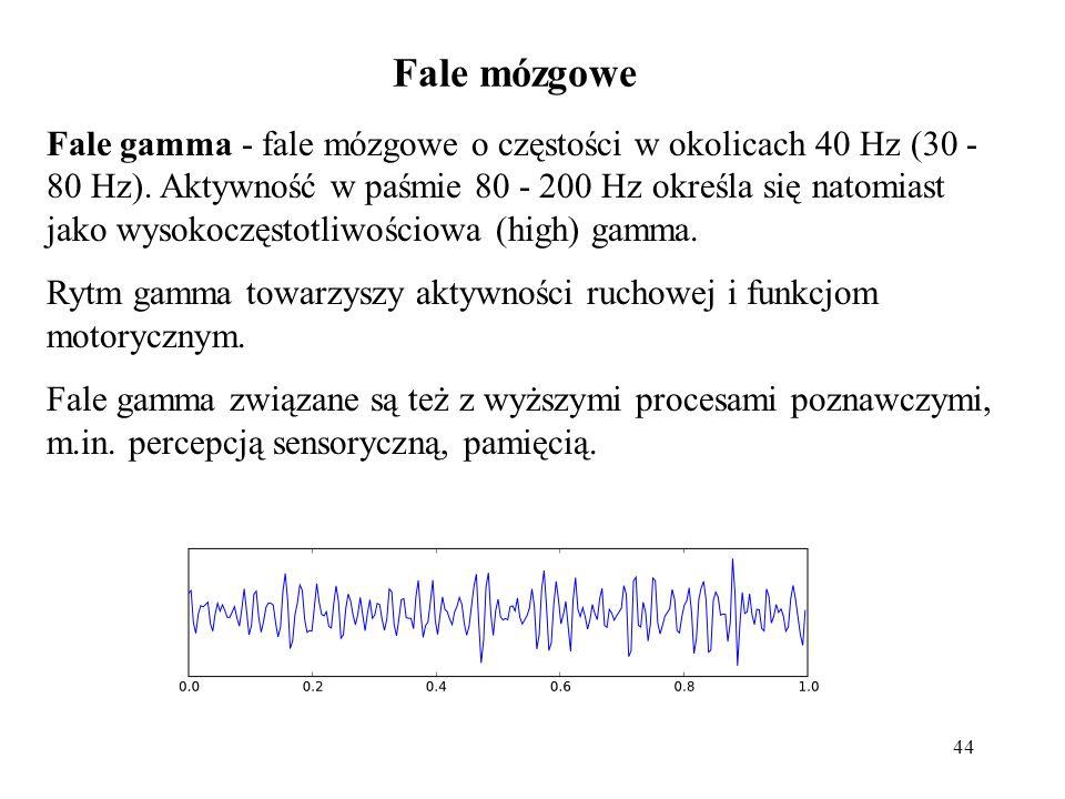 44 Fale gamma - fale mózgowe o częstości w okolicach 40 Hz (30 - 80 Hz). Aktywność w paśmie 80 - 200 Hz określa się natomiast jako wysokoczęstotliwośc