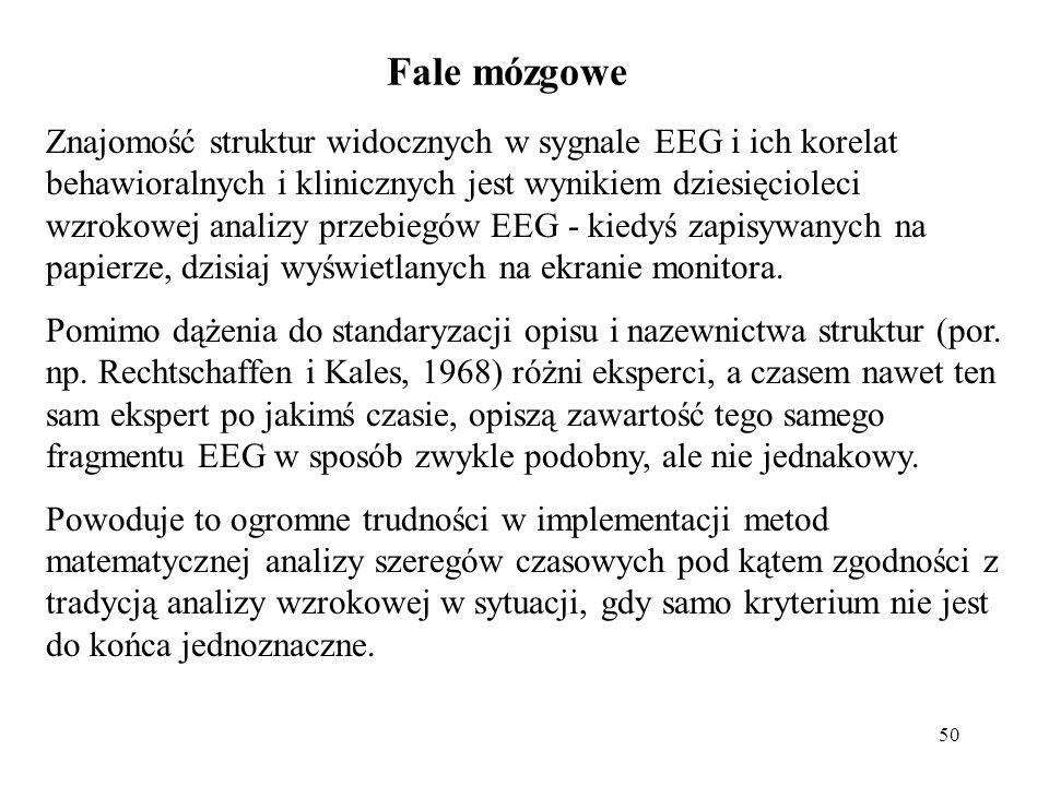 50 Znajomość struktur widocznych w sygnale EEG i ich korelat behawioralnych i klinicznych jest wynikiem dziesięcioleci wzrokowej analizy przebiegów EE