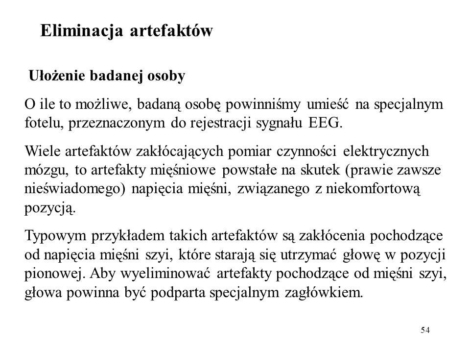 54 Ułożenie badanej osoby O ile to możliwe, badaną osobę powinniśmy umieść na specjalnym fotelu, przeznaczonym do rejestracji sygnału EEG. Wiele artef