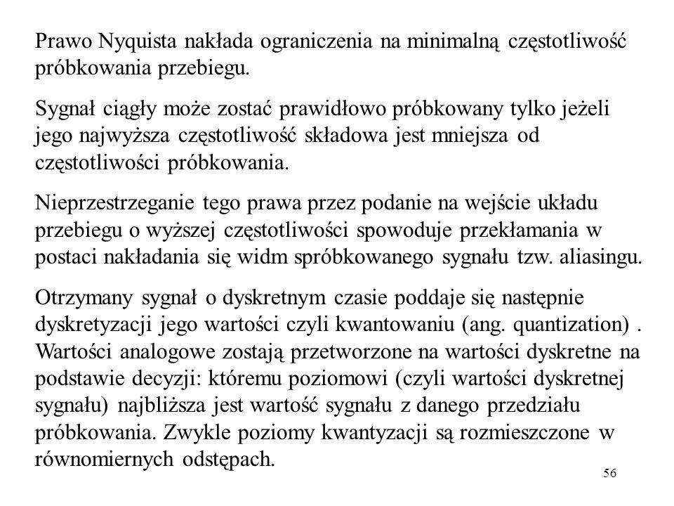 56 Prawo Nyquista nakłada ograniczenia na minimalną częstotliwość próbkowania przebiegu. Sygnał ciągły może zostać prawidłowo próbkowany tylko jeżeli