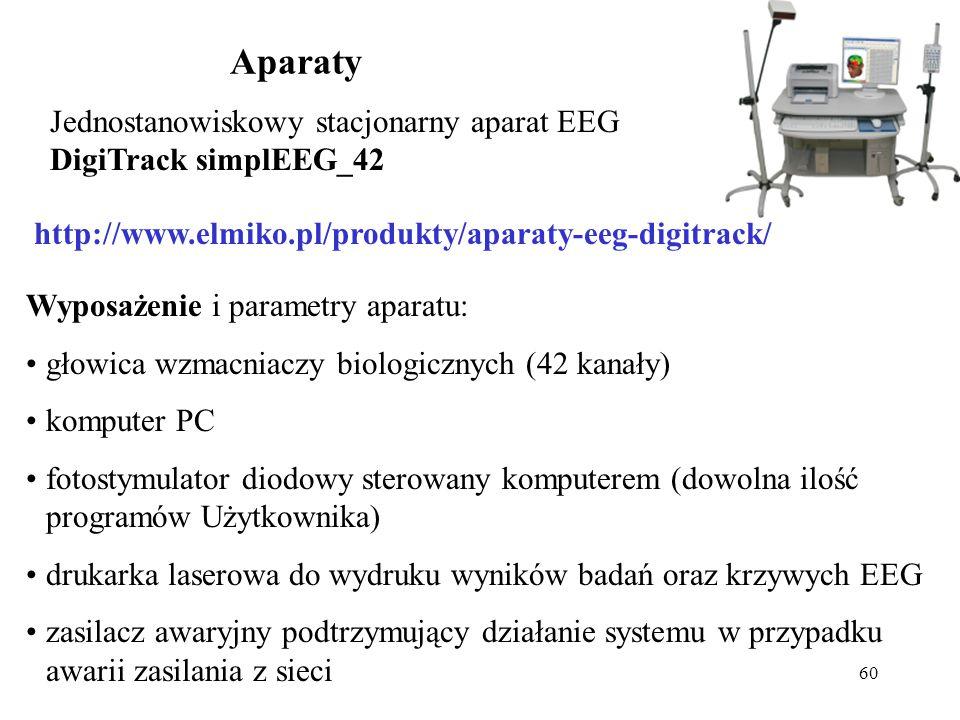 60 Aparaty Jednostanowiskowy stacjonarny aparat EEG DigiTrack simplEEG_42 Wyposażenie i parametry aparatu: głowica wzmacniaczy biologicznych (42 kanał