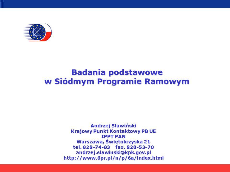 Badania podstawowe w Siódmym Programie Ramowym Andrzej Sławiński Krajowy Punkt Kontaktowy PB UE IPPT PAN Warszawa, Świętokrzyska 21 tel. 828-74-83 fax
