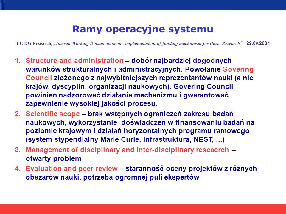"Ramy operacyjne systemu EC DG Research, ""Interim Working Document on the implementation of funding mechanism for Basic Research"