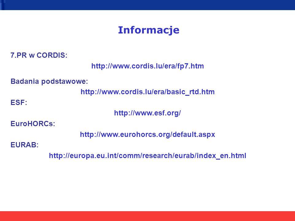 Informacje 7.PR w CORDIS: http://www.cordis.lu/era/fp7.htm Badania podstawowe: http://www.cordis.lu/era/basic_rtd.htm ESF: http://www.esf.org/ EuroHOR