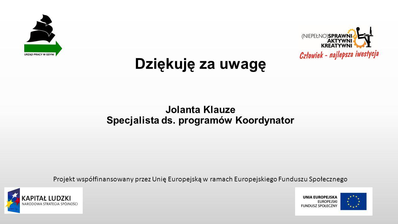 Dziękuję za uwagę Jolanta Klauze Specjalista ds.