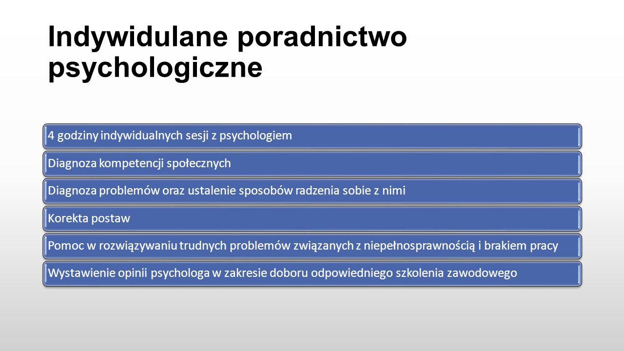 Indywidulane poradnictwo psychologiczne 4 godziny indywidualnych sesji z psychologiemDiagnoza kompetencji społecznychDiagnoza problemów oraz ustalenie sposobów radzenia sobie z nimiKorekta postawPomoc w rozwiązywaniu trudnych problemów związanych z niepełnosprawnością i brakiem pracyWystawienie opinii psychologa w zakresie doboru odpowiedniego szkolenia zawodowego