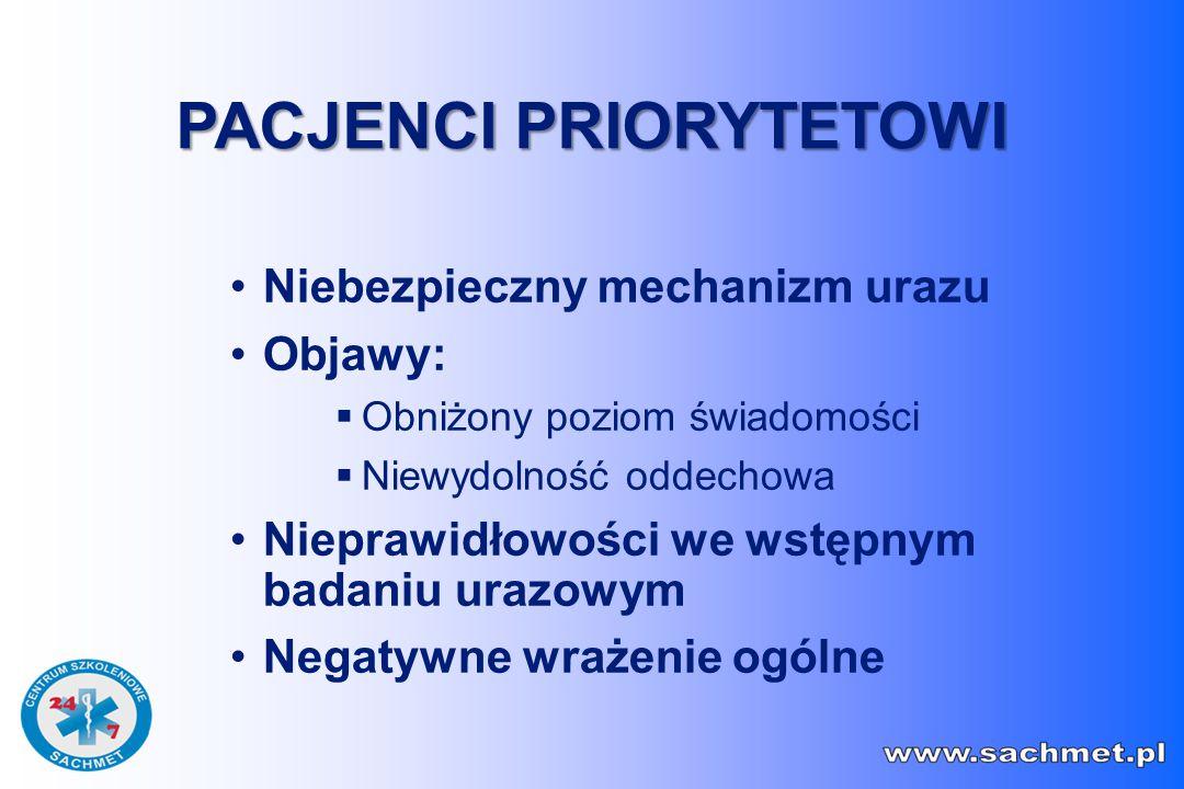 Niebezpieczny mechanizm urazu Objawy:  Obniżony poziom świadomości  Niewydolność oddechowa Nieprawidłowości we wstępnym badaniu urazowym Negatywne wrażenie ogólne PACJENCI PRIORYTETOWI