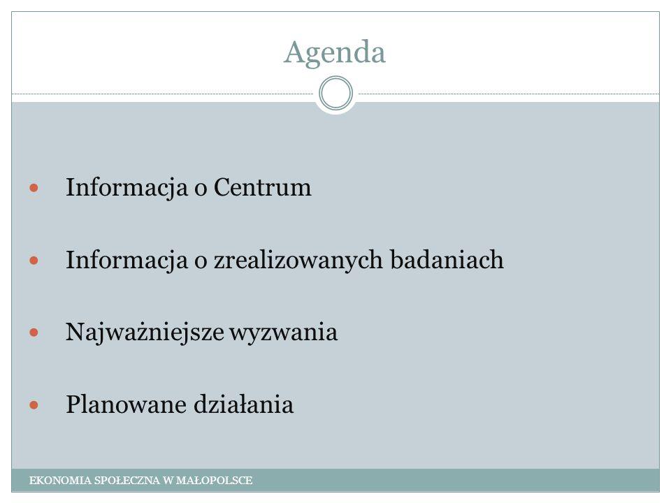 Planowane działania Monitoring przedsiębiorczości społecznej jako jedno z działań Małopolskiego Paktu na rzecz Ekonomii Społecznej Pomiar efektywności społecznej EKONOMIA SPOŁECZNA W MAŁOPOLSCE