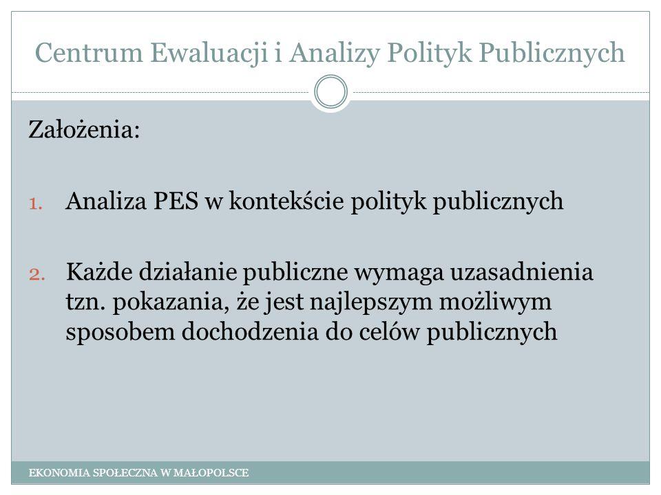 Centrum Ewaluacji i Analizy Polityk Publicznych Założenia: 1. Analiza PES w kontekście polityk publicznych 2. Każde działanie publiczne wymaga uzasadn