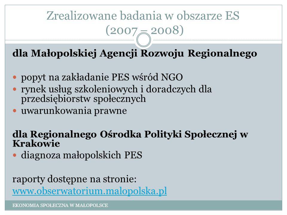 Zrealizowane badania w obszarze ES (2007 – 2008) dla Małopolskiej Agencji Rozwoju Regionalnego popyt na zakładanie PES wśród NGO rynek usług szkolenio