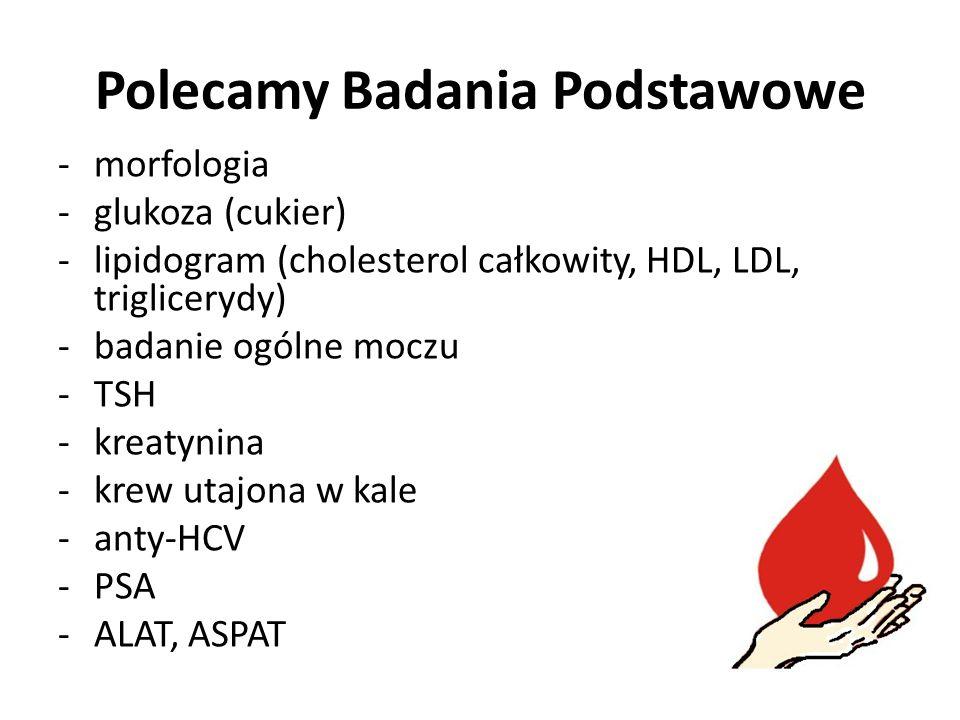 Polecamy Badania Podstawowe -morfologia -glukoza (cukier) -lipidogram (cholesterol całkowity, HDL, LDL, triglicerydy) -badanie ogólne moczu -TSH -kreatynina -krew utajona w kale -anty-HCV -PSA -ALAT, ASPAT