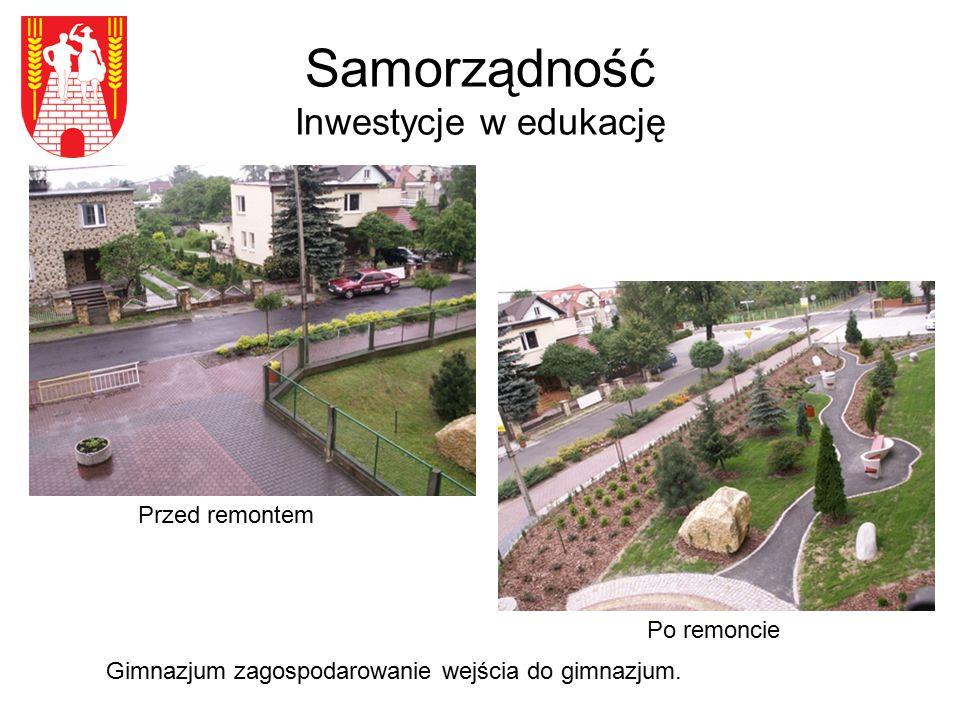 Samorządność Inwestycje w edukację Przed remontem Gimnazjum zagospodarowanie wejścia do gimnazjum.
