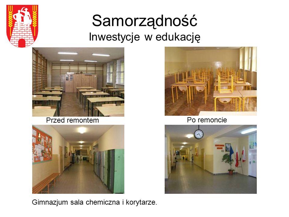 Samorządność Inwestycje w edukację Przed remontem Gimnazjum sala chemiczna i korytarze. Po remoncie