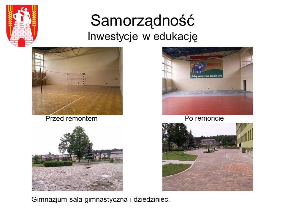 Samorządność Inwestycje w edukację Przed remontem Gimnazjum sala gimnastyczna i dziedziniec. Po remoncie