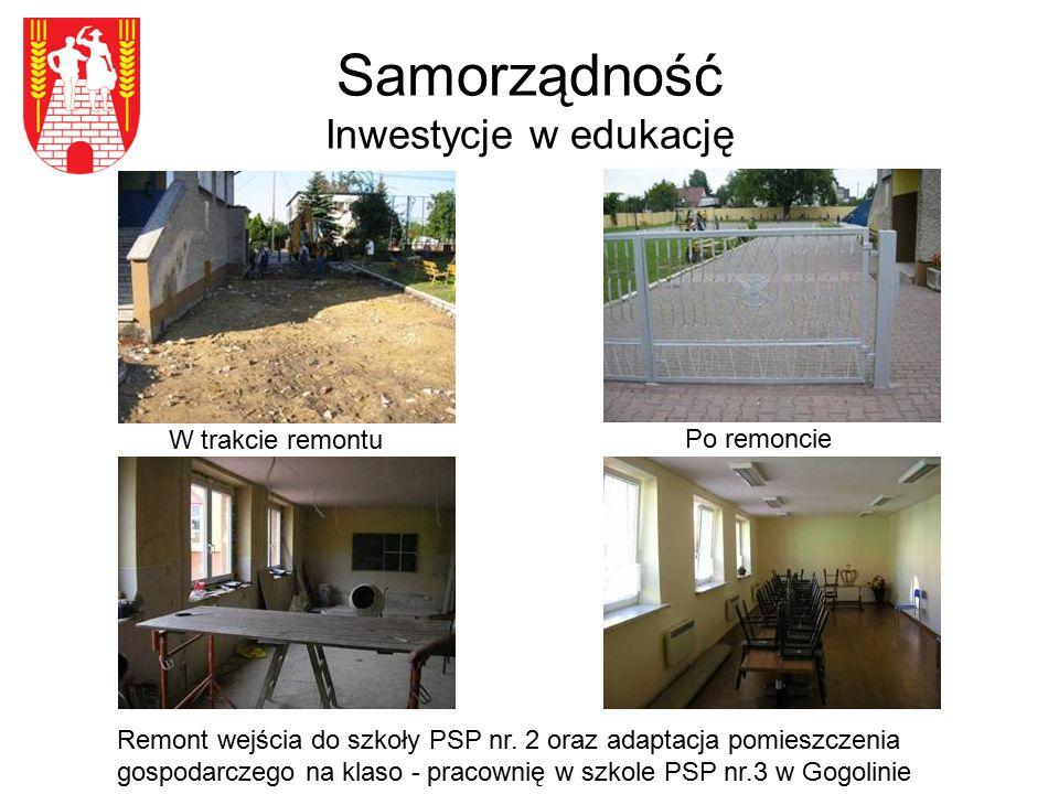 Samorządność Inwestycje w edukację W trakcie remontu Remont wejścia do szkoły PSP nr. 2 oraz adaptacja pomieszczenia gospodarczego na klaso - pracowni