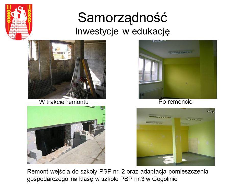 Samorządność Inwestycje w edukację W trakcie remontu Remont wejścia do szkoły PSP nr. 2 oraz adaptacja pomieszczenia gospodarczego na klasę w szkole P