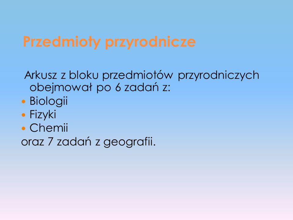 Przedmioty przyrodnicze Arkusz z bloku przedmiotów przyrodniczych obejmował po 6 zadań z: Biologii Fizyki Chemii oraz 7 zadań z geografii.