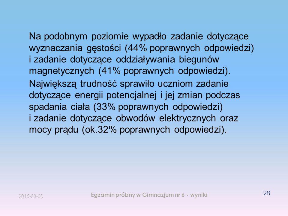 2015-03-30 Egzamin próbny w Gimnazjum nr 6 - wyniki 28 Na podobnym poziomie wypadło zadanie dotyczące wyznaczania gęstości (44% poprawnych odpowiedzi)