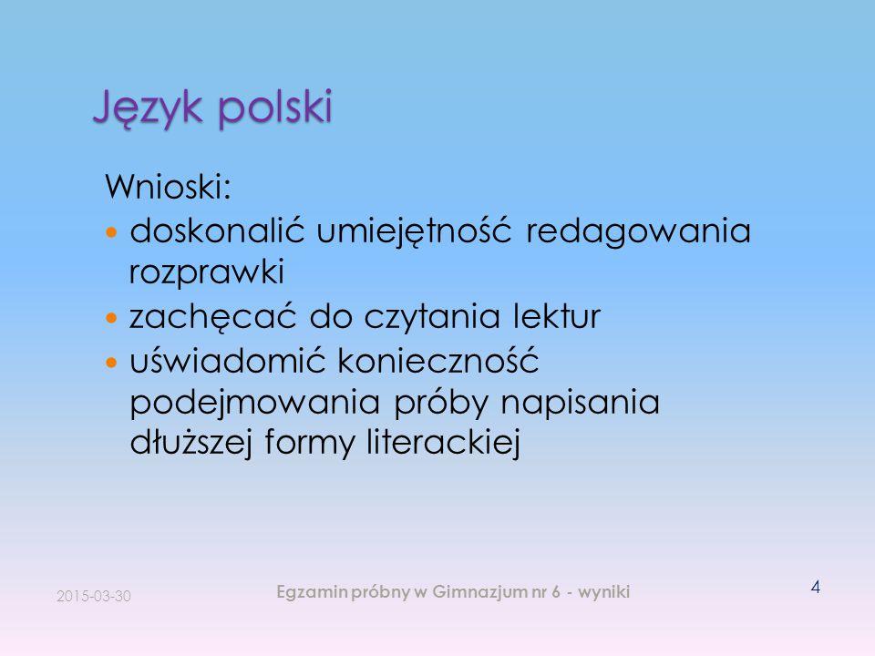 Język polski Wnioski: doskonalić umiejętność redagowania rozprawki zachęcać do czytania lektur uświadomić konieczność podejmowania próby napisania dłu