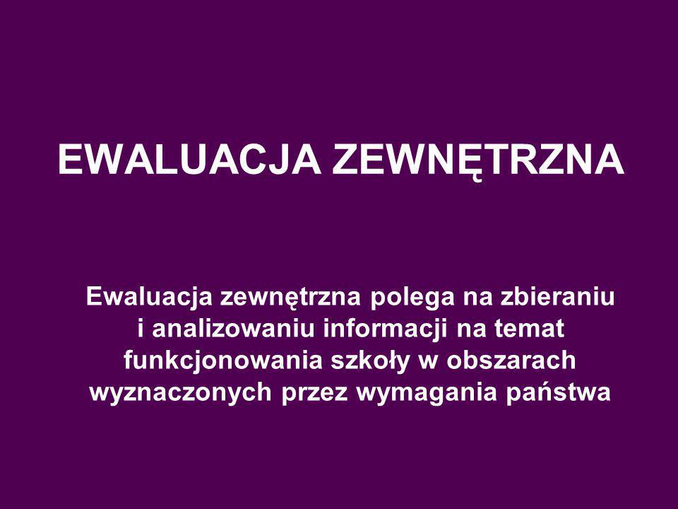 EWALUACJA ZEWNĘTRZNA Ewaluacja zewnętrzna polega na zbieraniu i analizowaniu informacji na temat funkcjonowania szkoły w obszarach wyznaczonych przez wymagania państwa Ewaluacja zewnętrzna polega na zbieraniu i analizowaniu informacji na temat funkcjonowania szkoły w obszarach wyznaczonych przez wymagania państwa