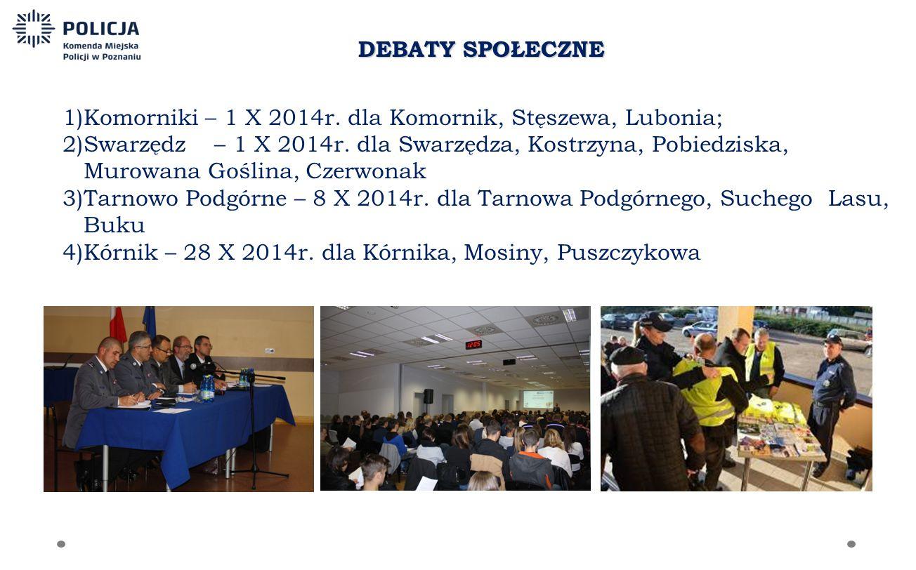 DEBATY SPOŁECZNE 1)Komorniki – 1 X 2014r.dla Komornik, Stęszewa, Lubonia; 2)Swarzędz – 1 X 2014r.