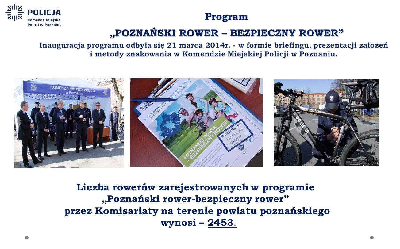 """Liczba rowerów zarejestrowanych w programie """"Poznański rower-bezpieczny rower przez Komisariaty na terenie powiatu poznańskiego wynosi – 2453."""