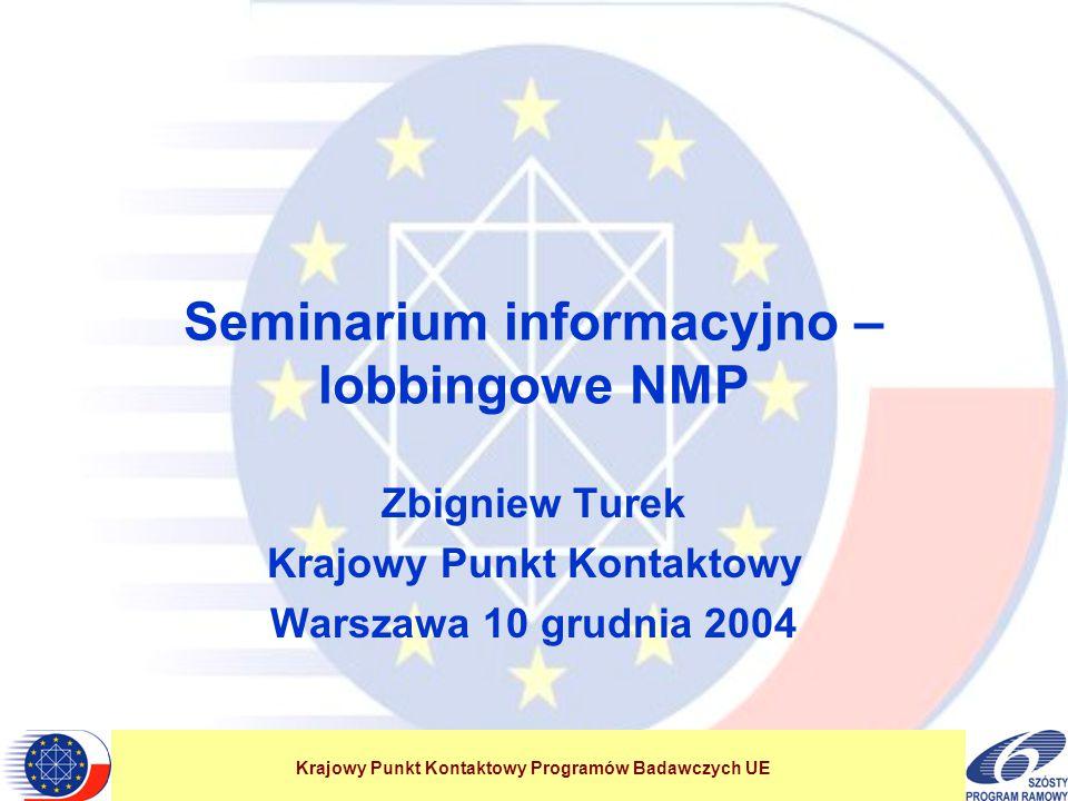 Krajowy Punkt Kontaktowy Programów Badawczych UE Seminarium informacyjno – lobbingowe NMP Zbigniew Turek Krajowy Punkt Kontaktowy Warszawa 10 grudnia 2004