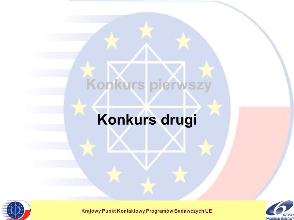 Krajowy Punkt Kontaktowy Programów Badawczych UE Konkurs pierwszy Konkurs drugi