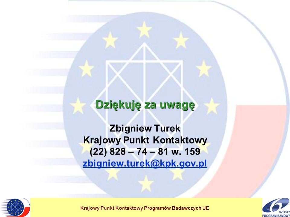 Krajowy Punkt Kontaktowy Programów Badawczych UE Dziękuję za uwagę Dziękuję za uwagę Zbigniew Turek Krajowy Punkt Kontaktowy (22) 828 – 74 – 81 w. 159