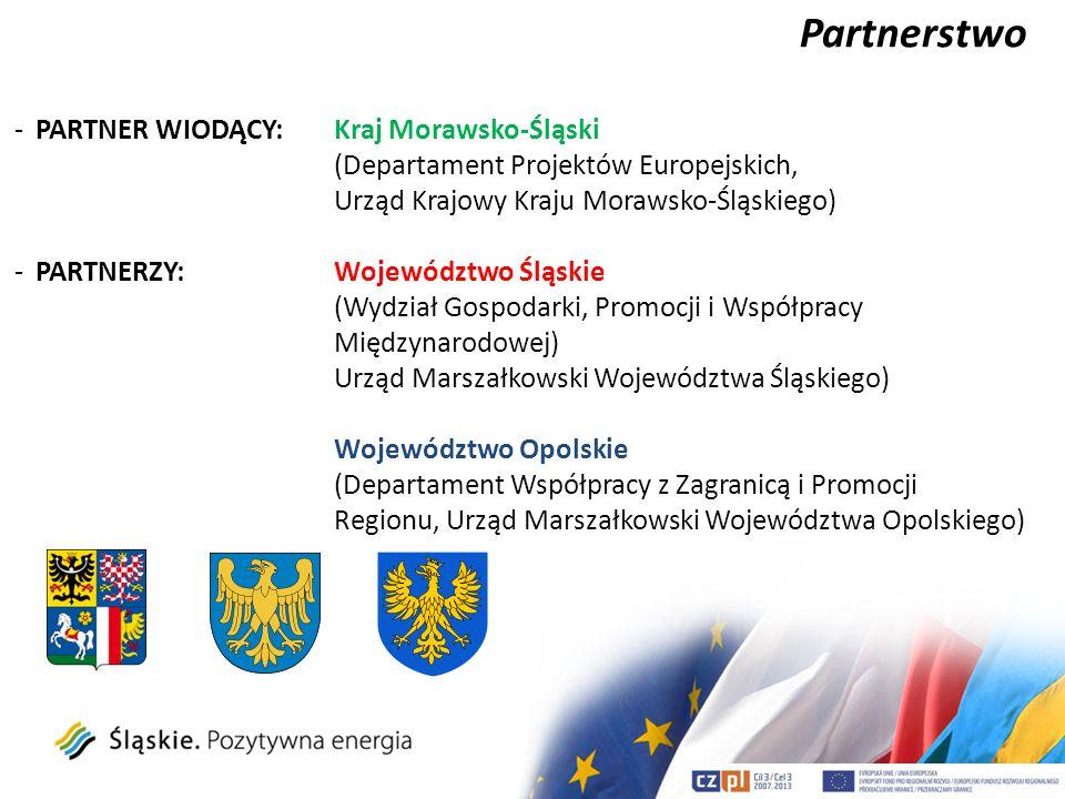 Partnerstwo -PARTNER WIODĄCY: Kraj Morawsko-Śląski (Departament Projektów Europejskich, Urząd Krajowy Kraju Morawsko-Śląskiego) -PARTNERZY:Województwo
