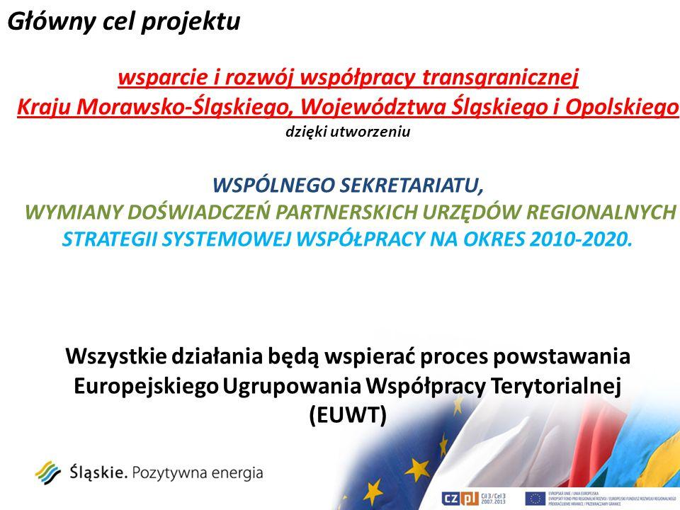 Działania w ramach projektu Główne działania: -przygotowanie dokumentu analizy dotychczasowej współpracy transgranicznej Kraju Morawsko-Śląskiego, Województwa Śląskiego i Opolskiego, -przygotowanie dokumentu strategicznego kształtującego współpracę transgraniczną Kraju Morawsko-Śląskiego, Województwa Śląskiego i Opolskiego, Realizowane poprzez: -funkcjonowanie grup roboczych w trzech regionach (międzywydziałowa grupa robocza ds.