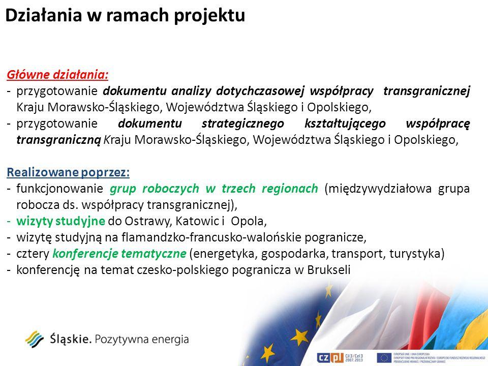 Działania w ramach projektu Główne działania: -przygotowanie dokumentu analizy dotychczasowej współpracy transgranicznej Kraju Morawsko-Śląskiego, Woj