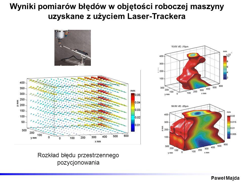 Paweł Majda Wyniki pomiarów błędów w objętości roboczej maszyny uzyskane z użyciem Laser-Trackera Rozkład błędu przestrzennego pozycjonowania