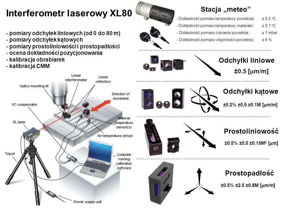 """- Dokładność pomiaru temperatury powietrza: ± 0.2 o C - Dokładność pomiaru temperatury materiału: ± 0.1 o C - Dokładność pomiaru ciśnienia powietrza : ± 1 mbar - Dokładność pomiaru wilgotności powietrza : ± 6 % Stacja """"meteo Odchyłki liniowe Odchyłki kątowe Prostoliniowość Prostopadłość Interferometr laserowy XL80 - pomiary odchyłek liniowych (od 0 do 80 m) - pomiary odchyłek kątowych - pomiary prostoliniowości i prostopadłości - ocena dokładności pozycjonowania - kalibracja obrabiarek - kalibracja CMM ±0.5 [  m/m] ±0.2% ±0.5 ±0.1M [  m/m] ±0.5% ±0.5 ±0.15M 2 [  m] ±0.5% ±2.5 ±0.8M [  m/m]"""
