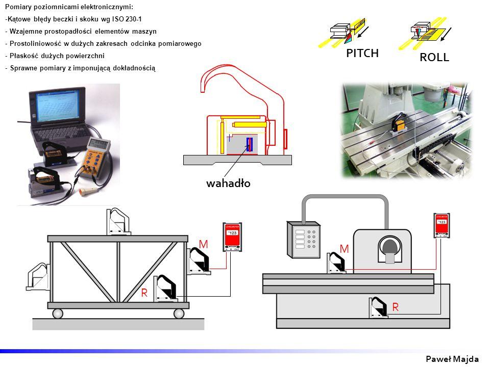 M R R M Paweł Majda PITCH ROLL Pomiary poziomnicami elektronicznymi: -Kątowe błędy beczki i skoku wg ISO 230-1 - Wzajemne prostopadłości elementów maszyn - Prostoliniowość w dużych zakresach odcinka pomiarowego - Płaskość dużych powierzchni - Sprawne pomiary z imponującą dokładnością