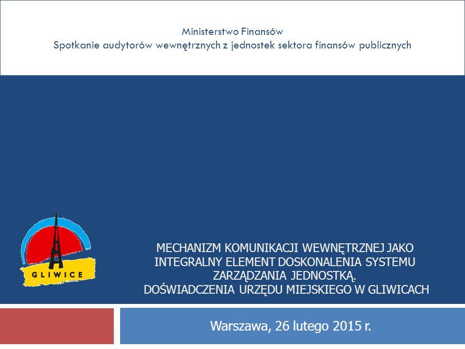 Ministerstwo Finansów Spotkanie audytorów wewnętrznych z jednostek sektora finansów publicznych MECHANIZM KOMUNIKACJI WEWNĘTRZNEJ JAKO INTEGRALNY ELEM