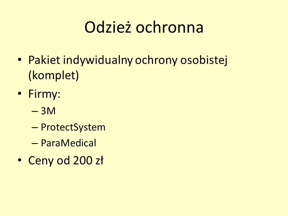 Odzież ochronna Pakiet indywidualny ochrony osobistej (komplet) Firmy: – 3M – ProtectSystem – ParaMedical Ceny od 200 zł