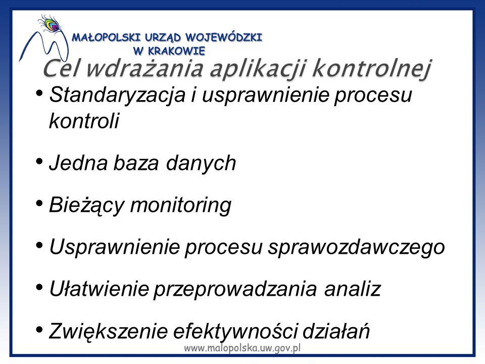 Standaryzacja i usprawnienie procesu kontroli Jedna baza danych Bieżący monitoring Usprawnienie procesu sprawozdawczego Ułatwienie przeprowadzania analiz Zwiększenie efektywności działań
