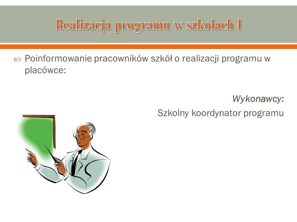  Poinformowanie pracowników szkół o realizacji programu w placówce: Wykonawcy: Szkolny koordynator programu