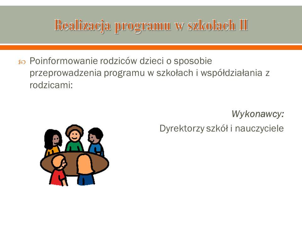  Poinformowanie rodziców dzieci o sposobie przeprowadzenia programu w szkołach i współdziałania z rodzicami: Wykonawcy: Dyrektorzy szkół i nauczyciel