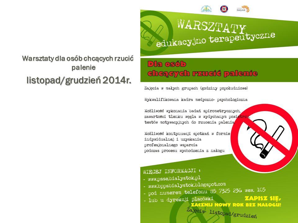 Warsztaty dla osób chcących rzucić palenie listopad/grudzień 2014r. listopad/grudzień 2014r.